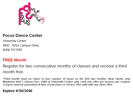 April Online Offer for FOCUS Dance Center for the Performing Arts in Irvine, CA