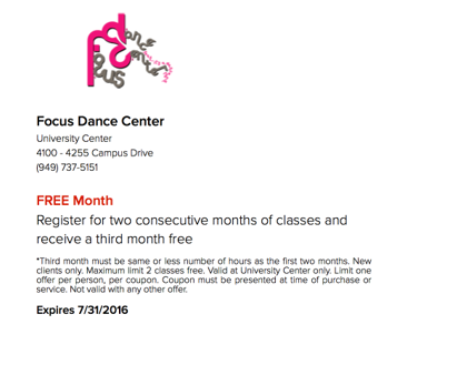 July Online Offer for FOCUS Dance Center for the Performing Arts in Irvine, CA